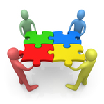 Team Of Diverse People Holding Up Connected Pieces To A Colorful Puzzle, Symbolizing Excellent Teamwork, Success And Link Exchanging Clipart Illustration Graphic